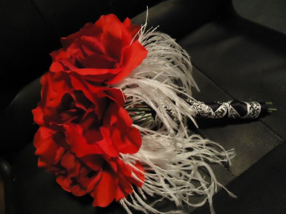 red rose, feather and damask bouquet