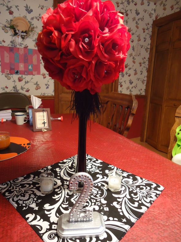 My centerpiece mock up :  wedding black diy reception red silver DSC01348