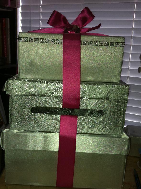 Gold White and Fuschia Cardbox wedding present cardbox gold pink white
