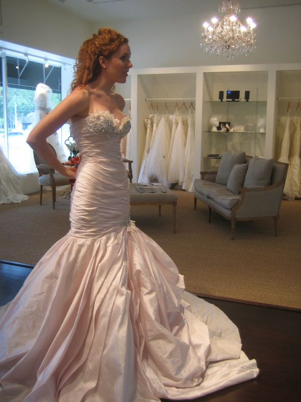 i changed my mind--THIS is the dress i bought!!!!!! (in blush) :  wedding blush cherise ines di santo mermaid pink wedding gown IMG 4805