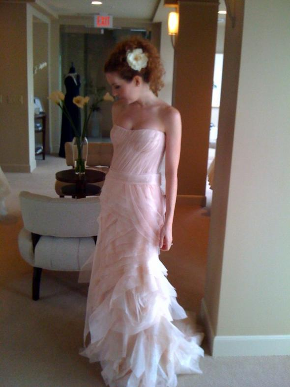 me in blush colored gowns (tried on just for the color) :  wedding blush Photo 2