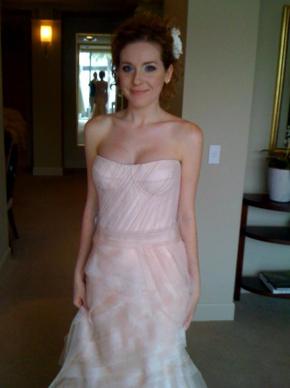 me in blush colored gowns (tried on just for the color) :  wedding blush Photo 3
