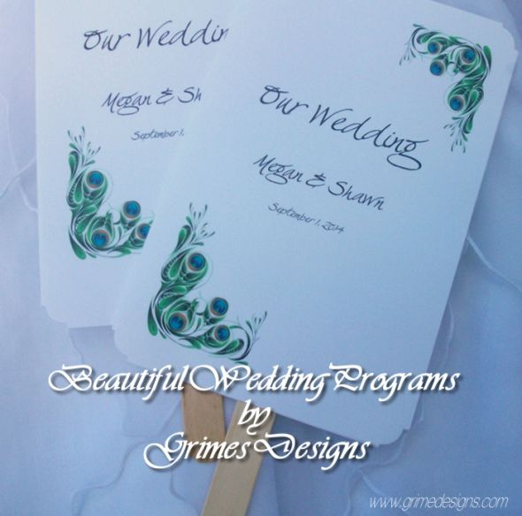 Handcrafted Peacock Wedding Fan Programs Set of 50 6500 wedding fan