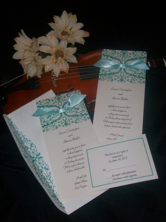 Turquoise Romance Personalized Wedding Invitations set of 125 Invites