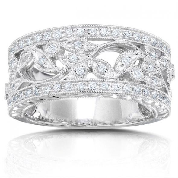 Diamond Floral Wedding Band w vines and leaves wedding floral diamond