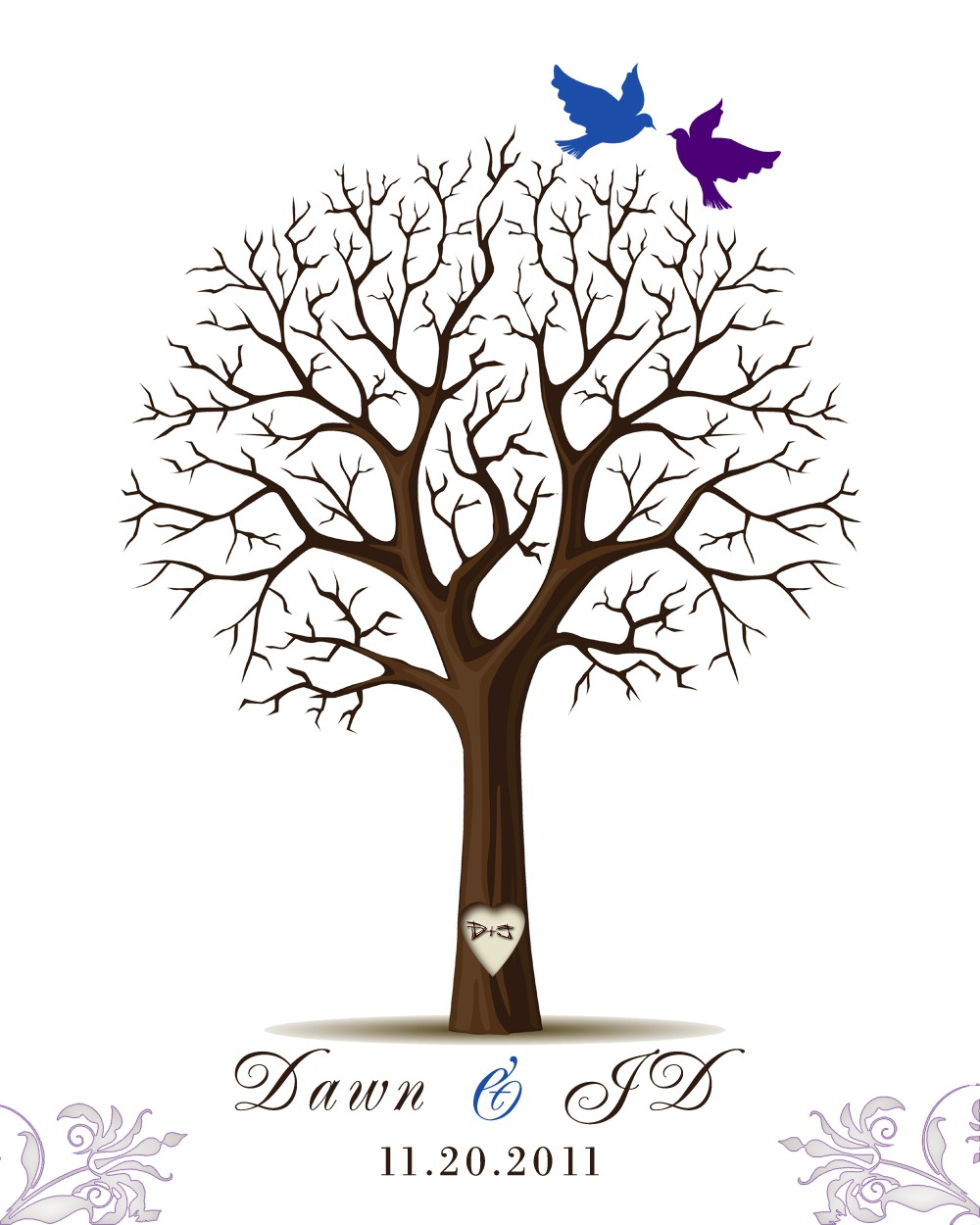 Wedding Tree Fingerprint Tree Thumb Print Guest Book: Thumbprint Tree Guest Book