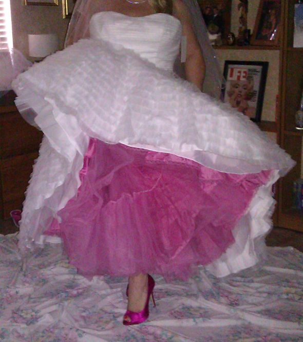 My pop of pink, under the dress....