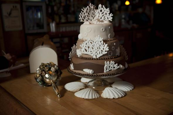 Our Cake Next To My Brooch Bouquet Weddingbee Photo Gallery