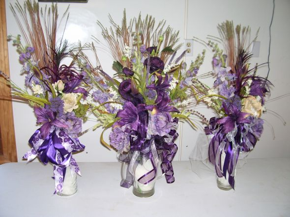 Purple Flower Arrangements wedding arrangements eggplant church decor