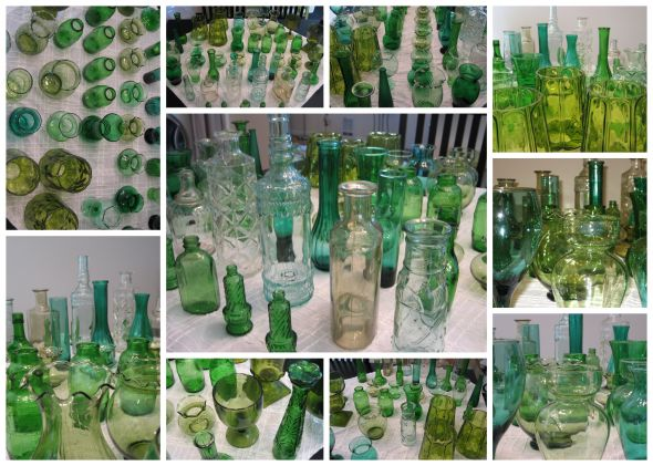 Green and white glass vases bottles for reception tables
