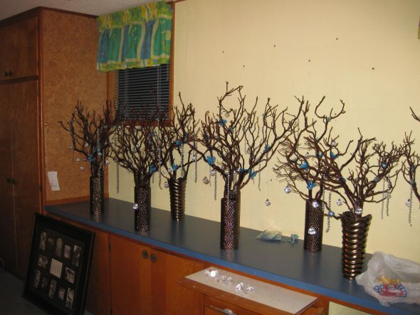 Manzanita Tree Centerpieces wedding manzanita trees turquoise chocolate