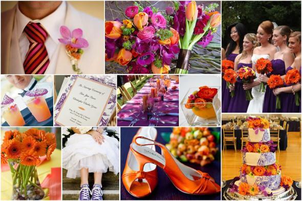 Purple Orange Wedding Vibrant Bold Pink Bouquet