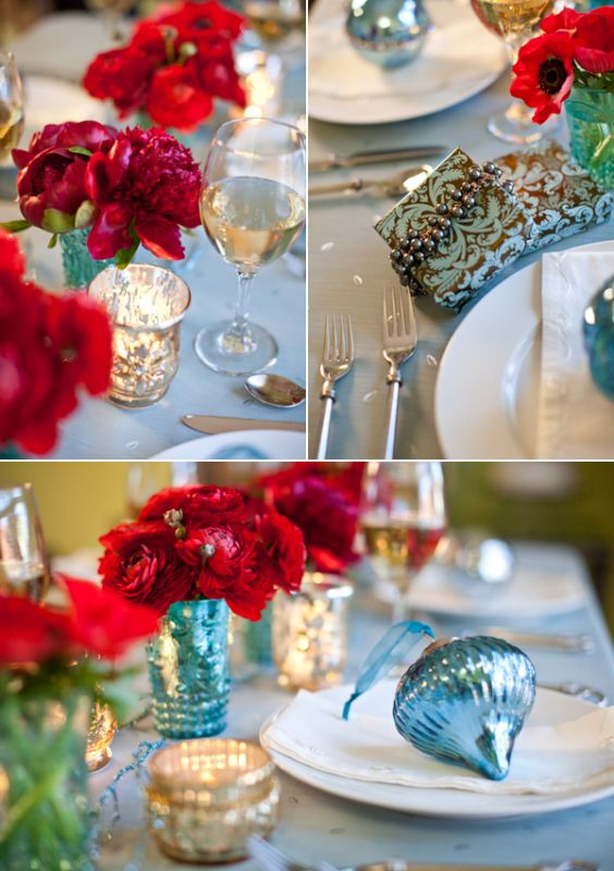 wedding Aqua Ans Red Christmas Wedding Table These Colors for Winter