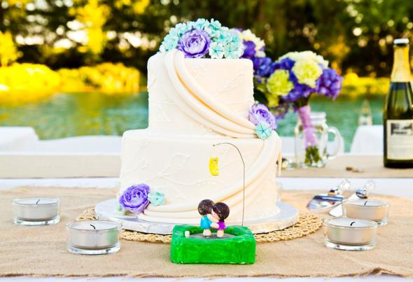 Wedding Cake wedding teal purple white cake IMG1493 L