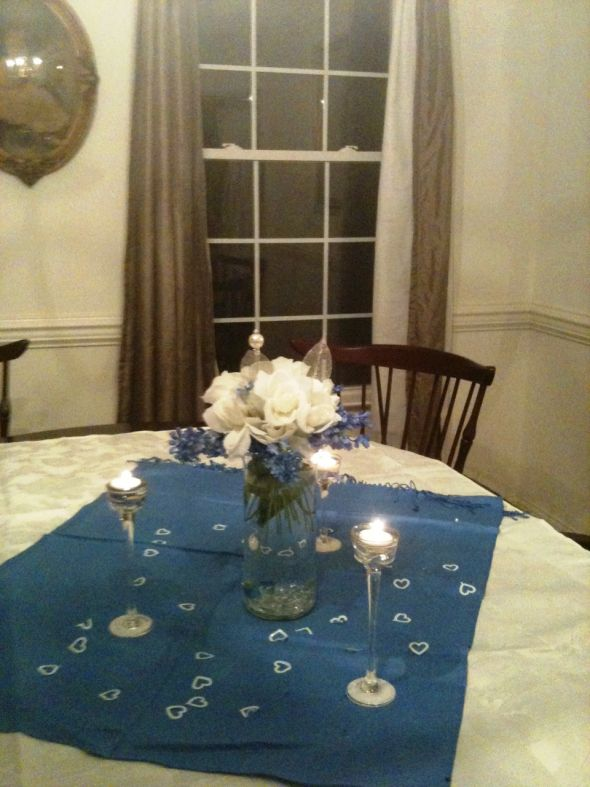 Comment please centerpiece in blue silver and white wedding Centerpiece