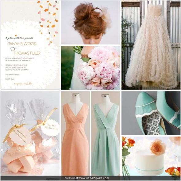 Peach, Robins Egg Blue, and Ivory : wedding teal blue orange pink ivory inspiration Iboard 218c22634422bbc5