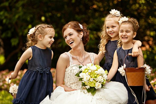 Flower Girls :  wedding blue dress flower girls flowers green navy navy dress white 7742265224 19130bc2f6 K