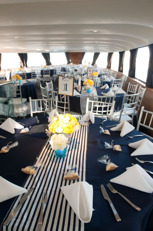 Navy Blue and white stripe nautical table runners : wedding nautical navy table runners reception B 1236