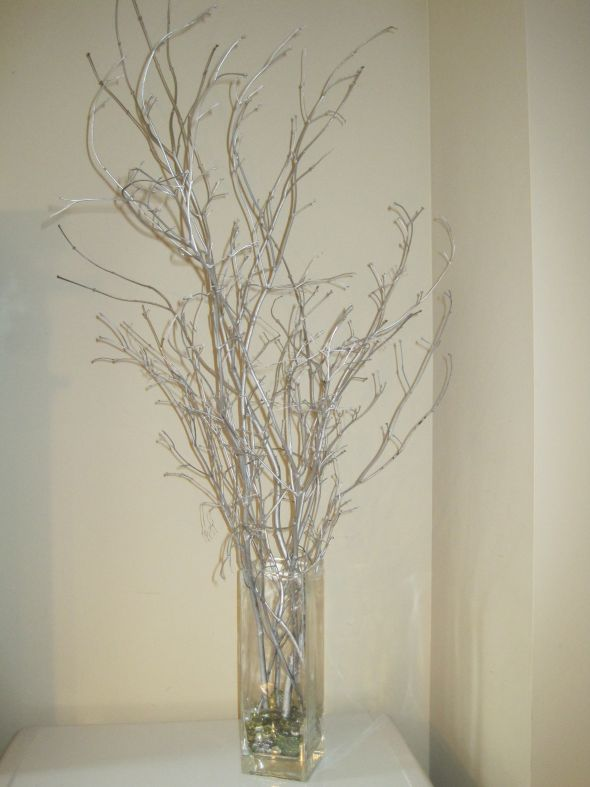 Winter Wedding Silver Branches wedding branch branches winter centerpiece