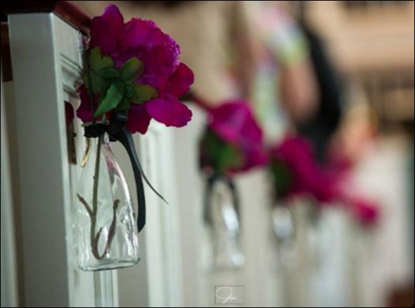 DIY Pew Decorations wedding silk peonies pew decoration pink ceremony
