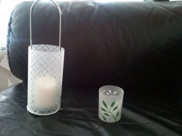Here are pictures of the centerpiece lantern and garden votive that some of