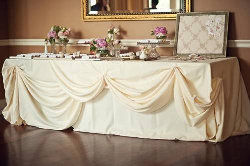 Cake Table Mock Up Opinions Please wedding reception linens decor cake