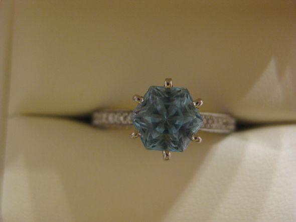 My snowflake cut aquamarine ering wedding aquamarine engagement teal blue