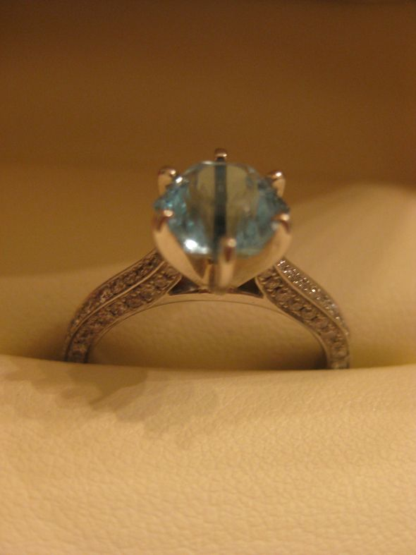 My snowflake cut aquamarine e-ring
