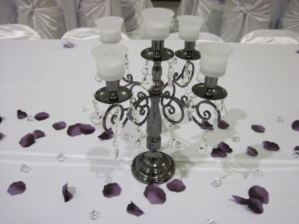 Gorgeous AFFORDABLE Candelabras with BLING wedding candelabra purple white