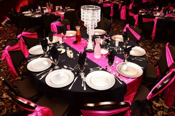 Pink Black Silver Masquerade Ball Reception Wedding Feathers