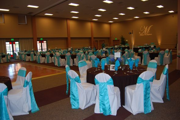 FOR SALE White Chair Covers and Tiffany Blue Sashes wedding chair sash