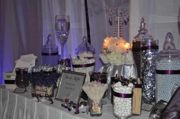 Purple and Silver Decor Needed :  wedding purple white silver reception Candy Buffet