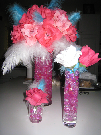 My DIY Wedding Centerpieces wedding wedding flowers silk roses feathers