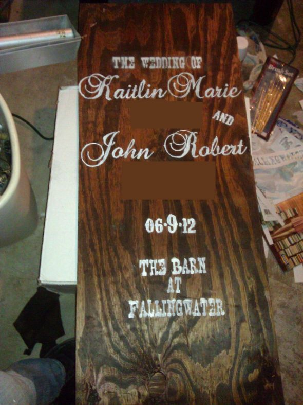 Our in progress rustic elegant homemade wedding sign