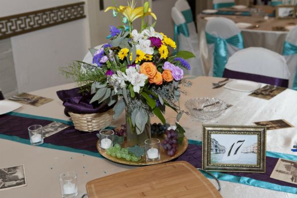 Italian Themed Plum and Teal Wedding Decor wedding teal purple Candle
