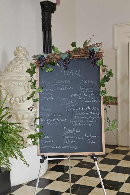 Italian Themed Plum and Teal Wedding Decor wedding teal purple Chalkboard