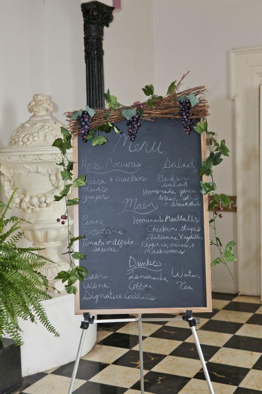 Italian Themed Plum and Teal Wedding Decor wedding teal purple Chalkboard