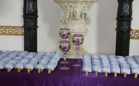 Italian Themed Plum and Teal Wedding Decor wedding teal purple Corks