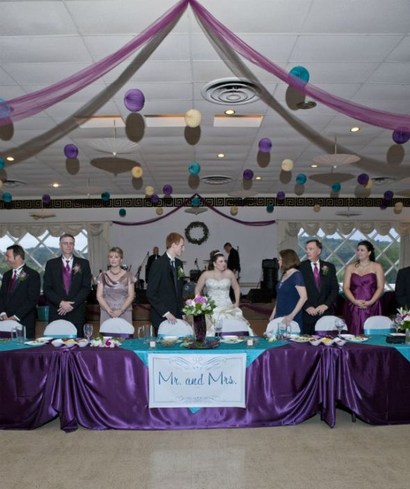 Italian Themed Plum and Teal Wedding Decor wedding teal purple Parasols