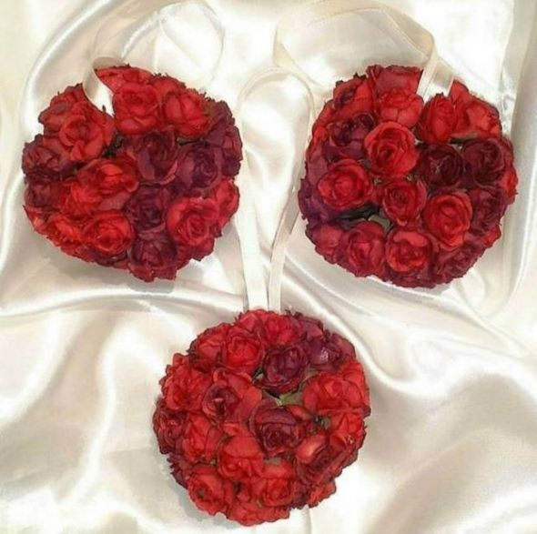Prewedding sale Red wedding red white reception pomander flower ball