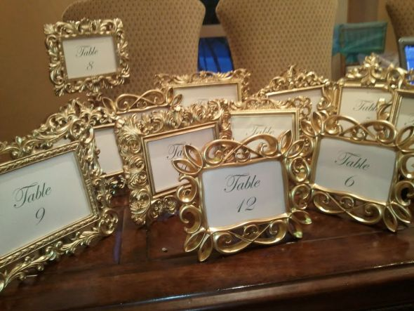 Gold Table Frames wedding table frames gold reception Gold Table Frames