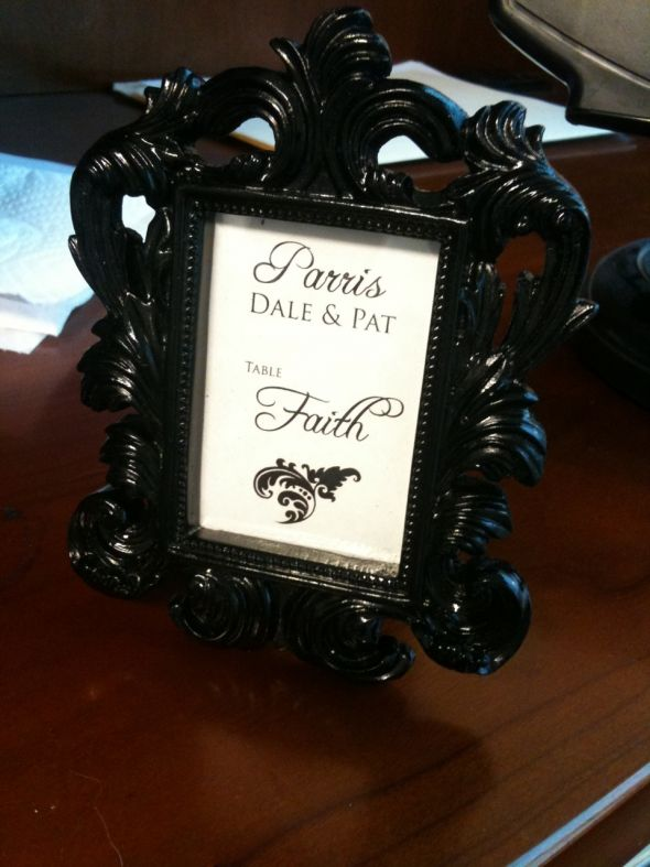 Placecards for black white and tiffany blue damask theme wedding wedding
