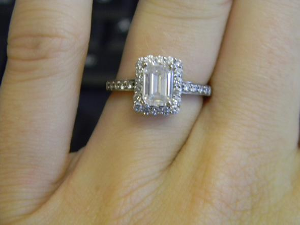 My e ring :) an emerald cut halo :  wedding e ring 2 emerald cut halo emerald engagement ring halo ring DSCN2451