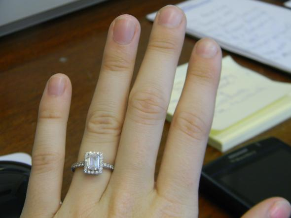 My e ring :) an emerald cut halo :  wedding e ring 2 emerald cut halo emerald engagement ring halo ring DSCN2456
