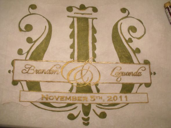 Reception Banner wedding brown gold green ceremony diy reception Reception