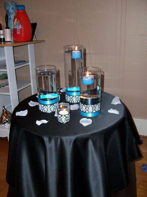 Centerpiece Ideas wedding black blue white diy reception 103 1156
