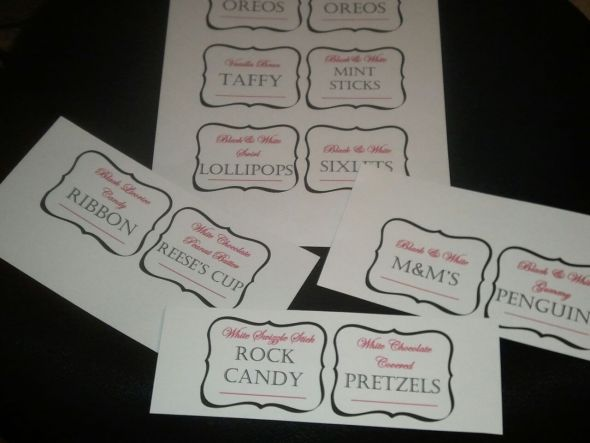 Candy Anyone?!?!? :  wedding candy labels candy buffet black pink white 2012 01 202019 29 26