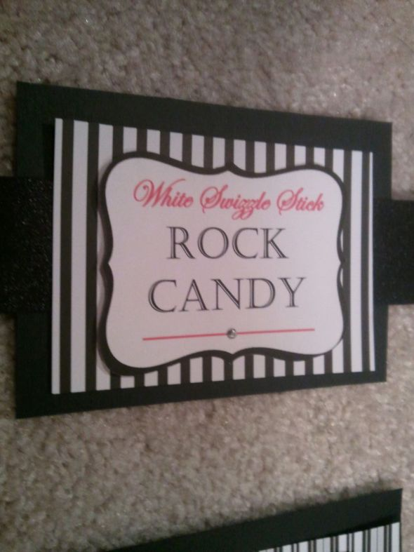 Candy Anyone?!?!? :  wedding candy labels candy buffet black pink white 2012 01 202020 30 03