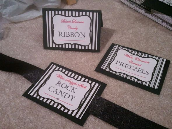 wedding candy labels candy buffet black pink white