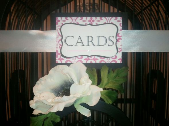 Birdcage for Cards...Flowers or no? :  wedding birdcage cards gifts black pink white diy Bircage   Cards 3
